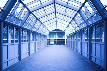 Blue corridor inside modern office