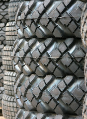 Tyres for the auto truck close up