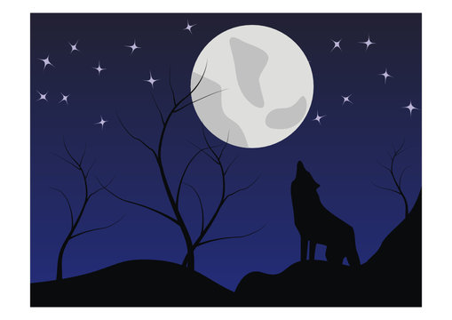 The silhouette of a wolf howls on the moon