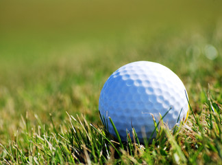 Closely focused image of golfball in grass