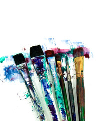 a selection of art paint brushes