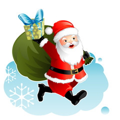 Vector illustration layered of Santa Claus and gift.