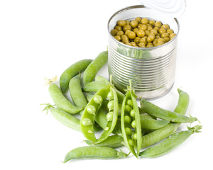 Fresh pods of peas on a white background