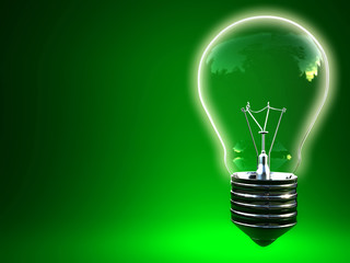 3d image of green eco light bulb with space for write