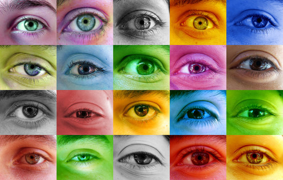 Multi color human eye concept. Many different people eyes