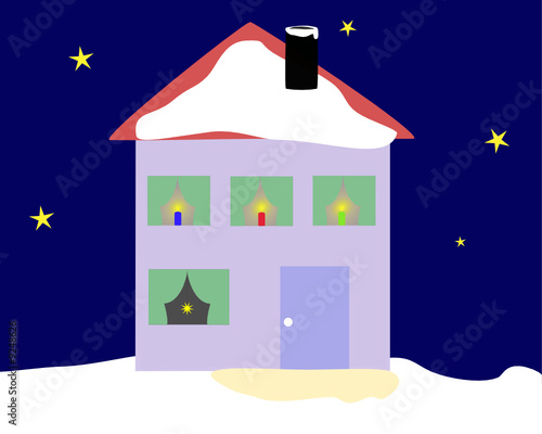 Haus Weihnachtsbeleuchtung.Haus In Weihnachtsbeleuchtung Stock Image And Royalty Free