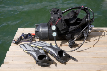 Diving equipment on the wood pier