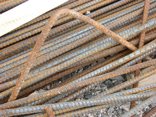 Construction Site Rusty Steel Rebar