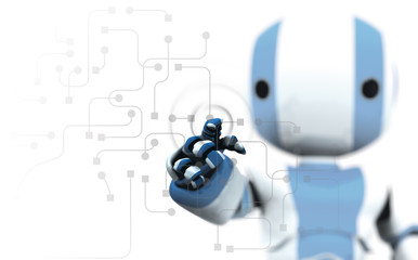A blue and white robot pointing his finger against circuitry