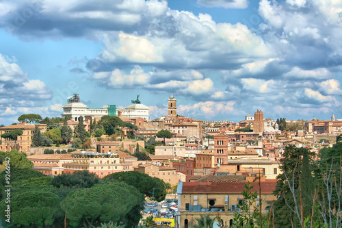 Veduta di Roma dall\'Aventino, terrazza Giardino degli aranci ...