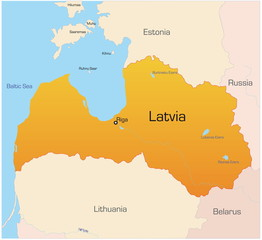 Abstract vector color map of Latvia country