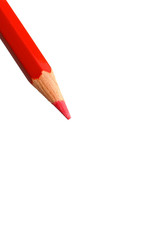 Red pencil in diagonal on a white background
