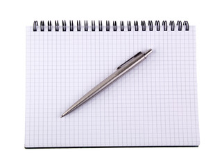 Pen and notebook, isolated on white background.