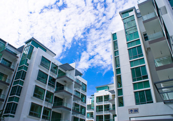 New tropical house exterior against blue sky