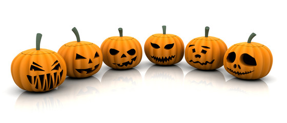 3D render of scary pumpkins