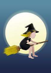 Petite sorcière blonde une nuit de pleine lune