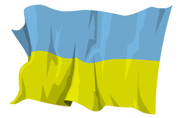 Computer generated illustration of the flag of Ukraine