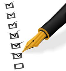 Gold Pen check in checkbox vector illustration
