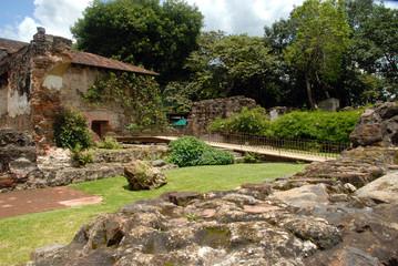 Garden walkway Santo Domingo in Antigua Guatemala.