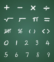 Chalk Vector Math Symbols and Numbers