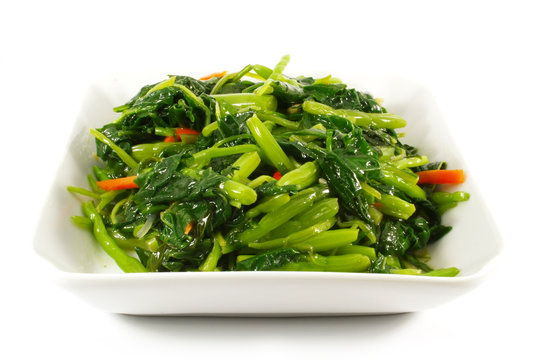 Asian Chinese Cooking Style Stir Fry Vegetable Dish on White