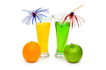 Orange and apple cocktail isolated on the white background