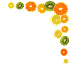 A slices of fresh orange, lemon and kiwi background.