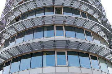 Round facade of the modern office building