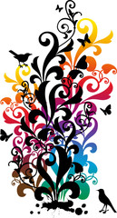 ornamental background with birds and butterflies