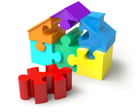 Colored puzzled house