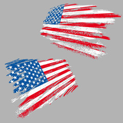 Two perspective views of the USA flag in grunge style