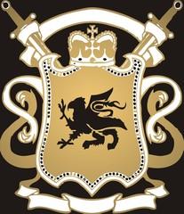 Golden crest on black background