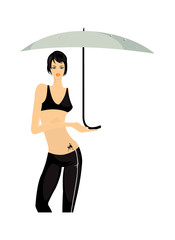 vector image of girl with umbrella