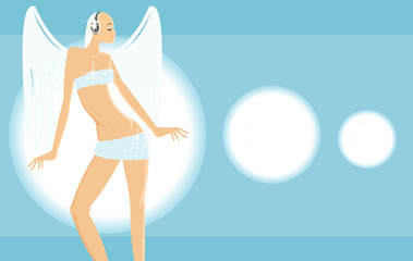 vector image of angel girl listen to music at diso party.