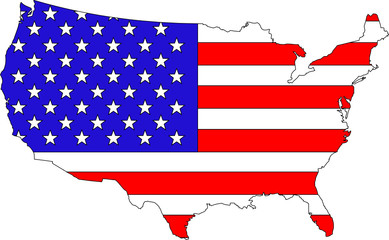 bright vector illustration of American flag on country map