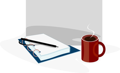 simple vector image of notepad and cup of tea