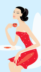 vector image of woman drinking cup of coffee