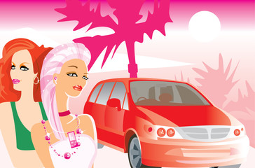 vector image of two girls and car