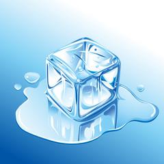 Melting Blue Ice Cube