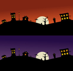 black silhouettes of night houses illuminated by the moon