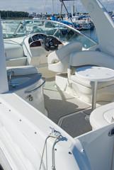White motor boat in a Marina