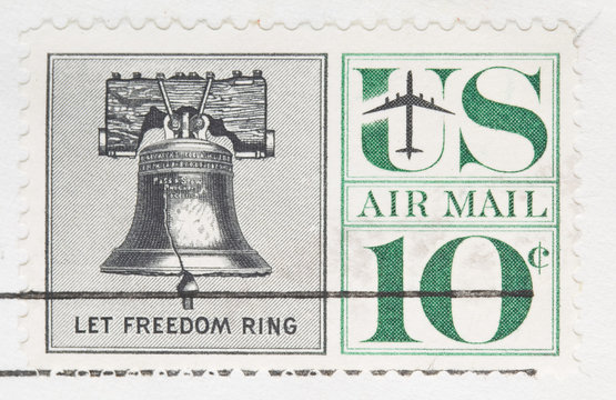 This is a Vintage 1960 canceled US stamp Let Freedom Ring
