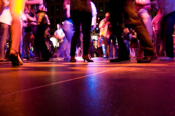 Photo on textile frame Dance School A low shot of the dance floor with people dancing