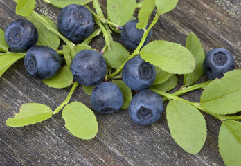 blueberries on a wooden table