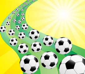 Illustration of background with sun and footballs