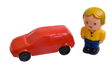 toy car and man
