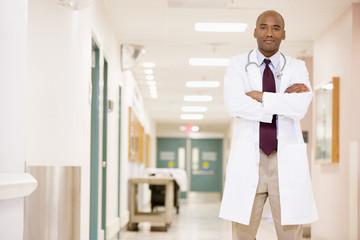 Doctor Standing In A Hospital Corridor