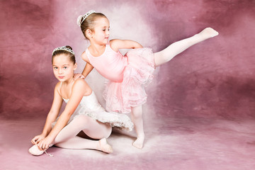 Young dancer wearing a tutu and tiara