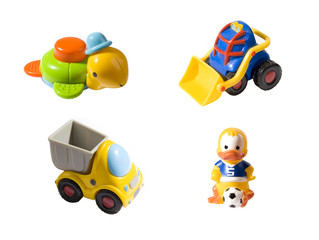 different toys isolated on white background