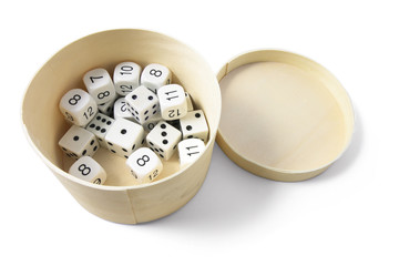 Dice in Round Box on Isolated White Background